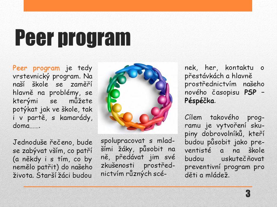 Peer program nek, her, kontaktu o přestávkách a hlavně prostřednictvím našeho nového časopisu PSP – Péspéčka.