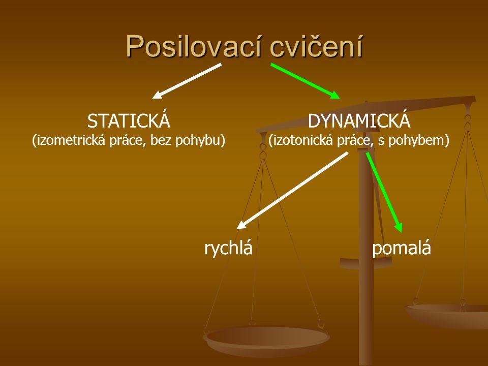 Posilovací cvičení STATICKÁ (izometrická práce, bez pohybu) DYNAMICKÁ (izotonická práce, s pohybem) rychlápomalá