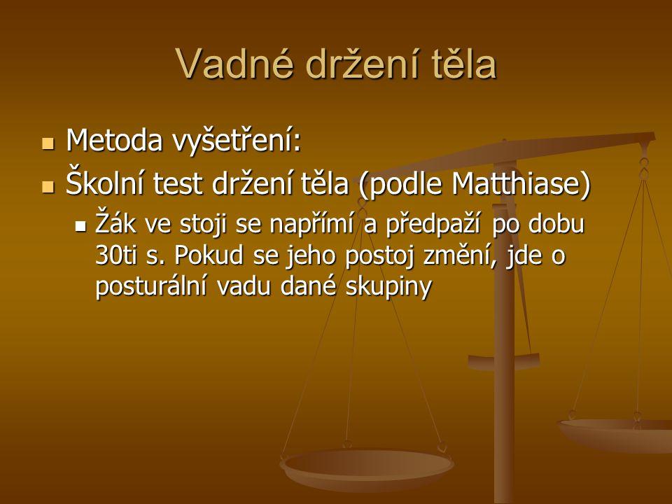 Vadné držení těla Metoda vyšetření: Metoda vyšetření: Školní test držení těla (podle Matthiase) Školní test držení těla (podle Matthiase) Žák ve stoji