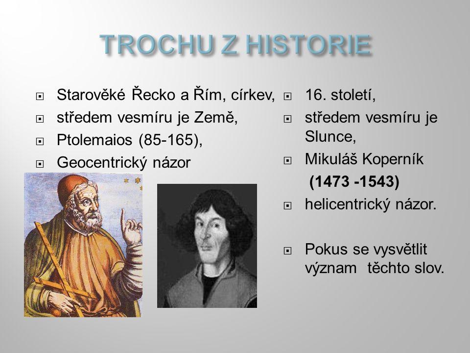  Starověké Řecko a Řím, církev,  středem vesmíru je Země,  Ptolemaios (85-165),  Geocentrický názor  16. století,  středem vesmíru je Slunce, 
