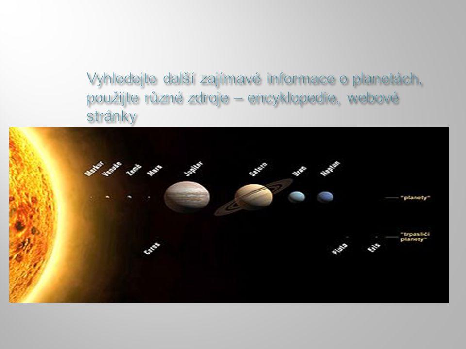 PLANETKY (ASTEROIDY)KOMETY  Shluky kamenných těles o různé velikosti,  výskyt v pásu mezi Marsem a Jupiterem  Ledová tělesa,  protáhlá trajektorie,  v blízkosti Slunce – koma, ohon  názvy podle objevitelů  Znáš některou z nich?