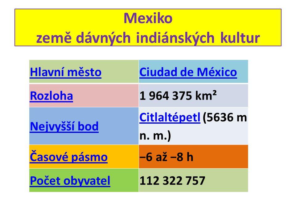 Hlavní městoCiudad de México Rozloha1 964 375 km² Nejvyšší bod CitlaltépetlCitlaltépetl (5636 m n. m.) Časové pásmo−6 až −8 h Počet obyvatel112 322 75