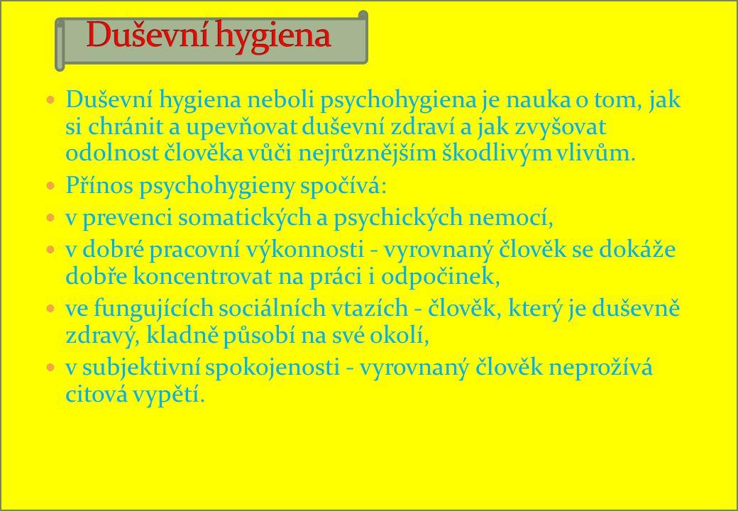 Duševní hygiena neboli psychohygiena je nauka o tom, jak si chránit a upevňovat duševní zdraví a jak zvyšovat odolnost člověka vůči nejrůznějším škodlivým vlivům.