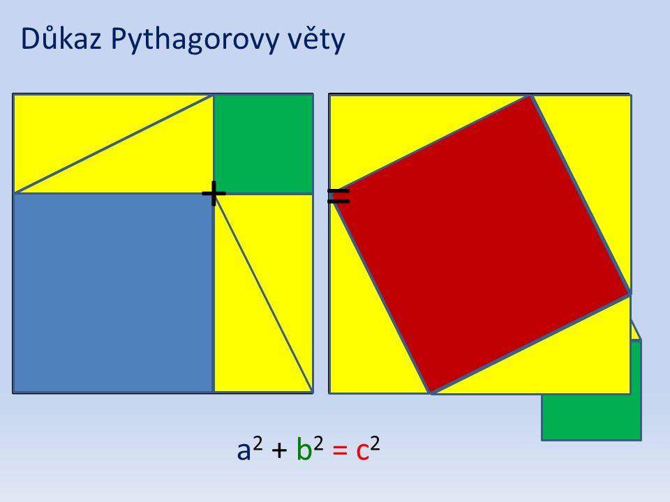 Důkaz Pythagorovy věty = + a 2 + b 2 = c 2