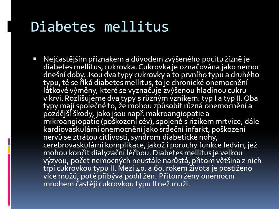 Diabetes mellitus  Nejčastějším příznakem a důvodem zvýšeného pocitu žízně je diabetes mellitus, cukrovka. Cukrovka je označována jako nemoc dnešní d