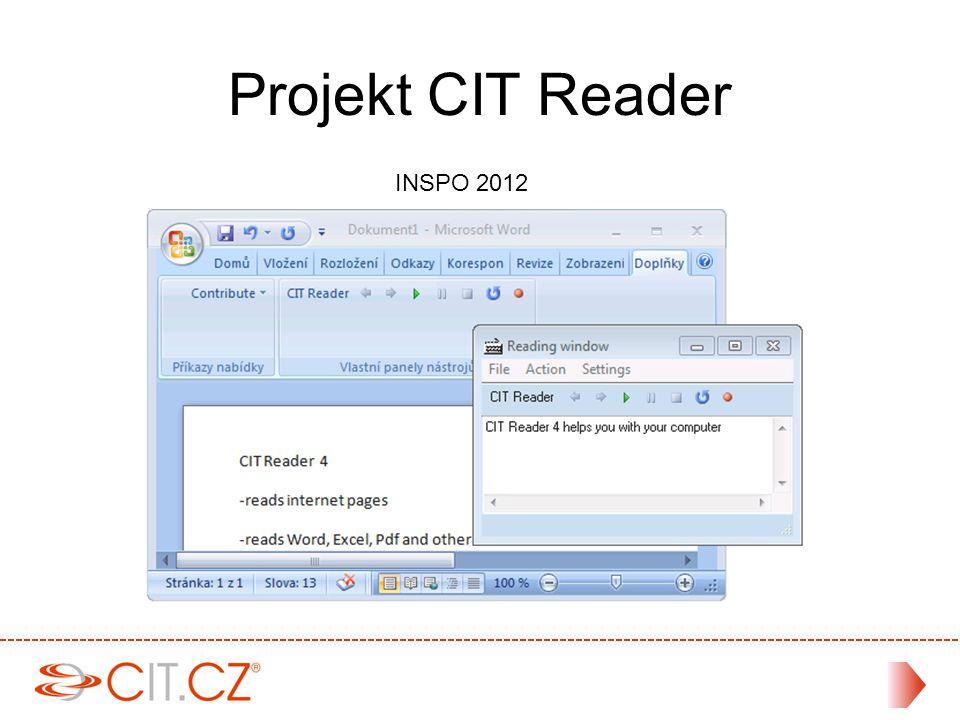 Demoverze je zdarma Zkušební období je 14 dní Jednoduchá registrace Více na adrese www.cit.cz/reader Zkušební verze
