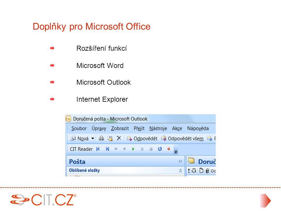 Rozšíření funkcí Microsoft Word Microsoft Outlook Internet Explorer Doplňky pro Microsoft Office