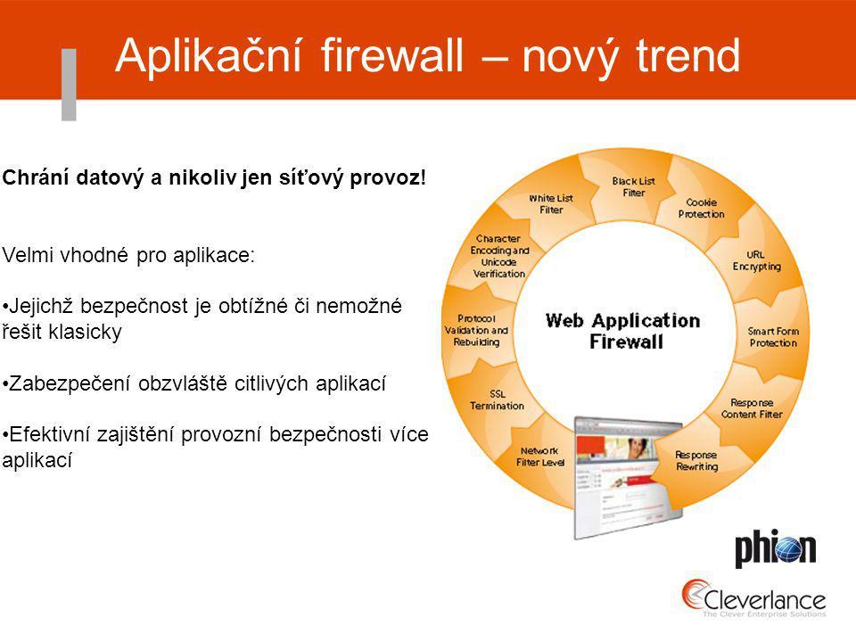 Aplikační firewall – nový trend Chrání datový a nikoliv jen síťový provoz.