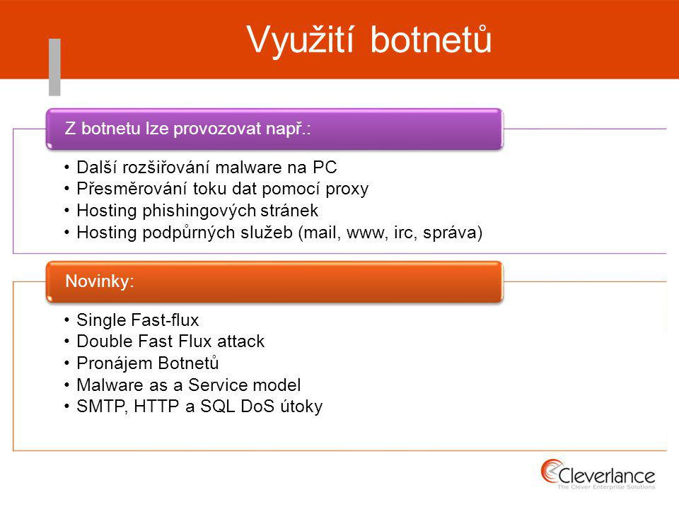 Využití botnetů Další rozšiřování malware na PC Přesměrování toku dat pomocí proxy Hosting phishingových stránek Hosting podpůrných služeb (mail, www, irc, správa) Z botnetu lze provozovat např.: Single Fast-flux Double Fast Flux attack Pronájem Botnetů Malware as a Service model SMTP, HTTP a SQL DoS útoky Novinky: