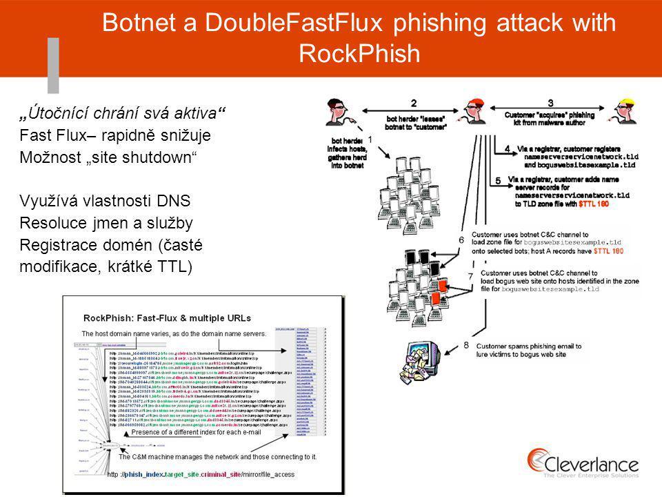 """Botnet a DoubleFastFlux phishing attack with RockPhish """"Útočnící chrání svá aktiva Fast Flux– rapidně snižuje Možnost """"site shutdown Využívá vlastnosti DNS Resoluce jmen a služby Registrace domén (časté modifikace, krátké TTL)"""