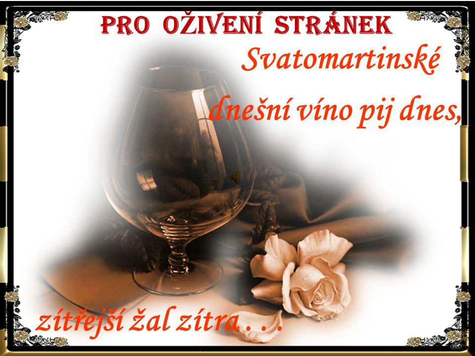 PRO O Ž IVENÍ STRÁNEK Svatomartinské dnešní víno pij dnes, zítřejší žal zítra...