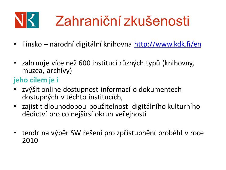 Zahraniční zkušenosti Finsko – národní digitální knihovna http://www.kdk.fi/enhttp://www.kdk.fi/en zahrnuje více než 600 institucí různých typů (kniho