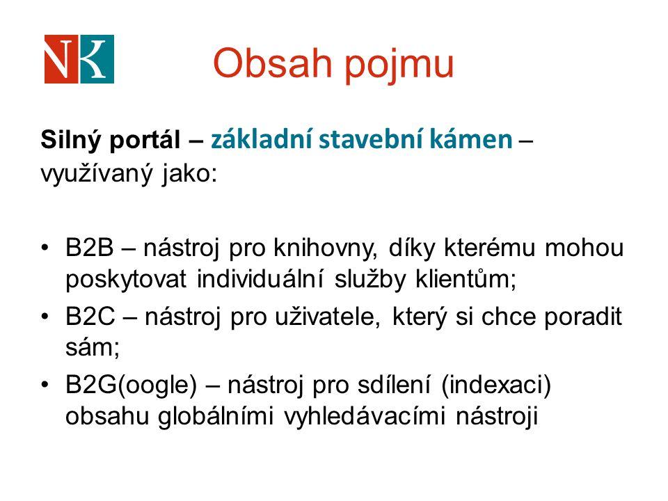 Obsah pojmu Silný portál – základní stavební kámen – využívaný jako: B2B – nástroj pro knihovny, díky kterému mohou poskytovat individuální služby kli