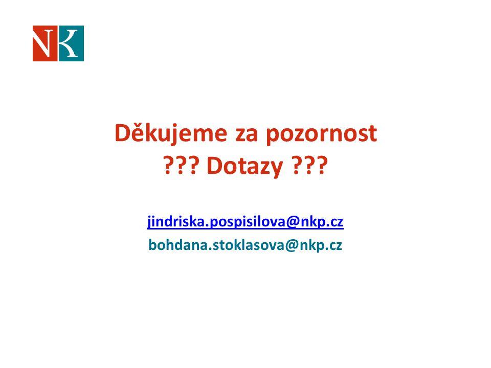 Děkujeme za pozornost ??? Dotazy ??? jindriska.pospisilova@nkp.cz bohdana.stoklasova@nkp.cz