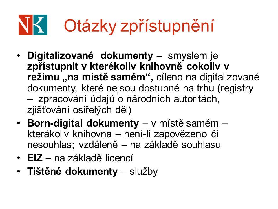 """Otázky zpřístupnění Digitalizované dokumenty – smyslem je zpřístupnit v kterékoliv knihovně cokoliv v režimu """"na místě samém"""", cíleno na digitalizovan"""