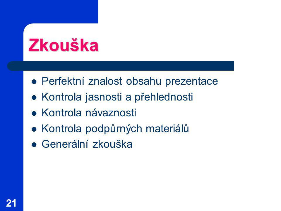 21 Zkouška Perfektní znalost obsahu prezentace Kontrola jasnosti a přehlednosti Kontrola návaznosti Kontrola podpůrných materiálů Generální zkouška