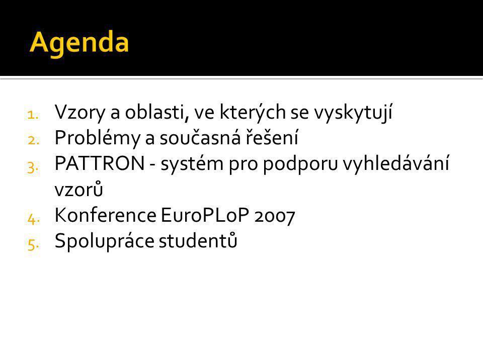 1. Vzory a oblasti, ve kterých se vyskytují 2. Problémy a současná řešení 3. PATTRON - systém pro podporu vyhledávání vzorů 4. Konference EuroPLoP 200