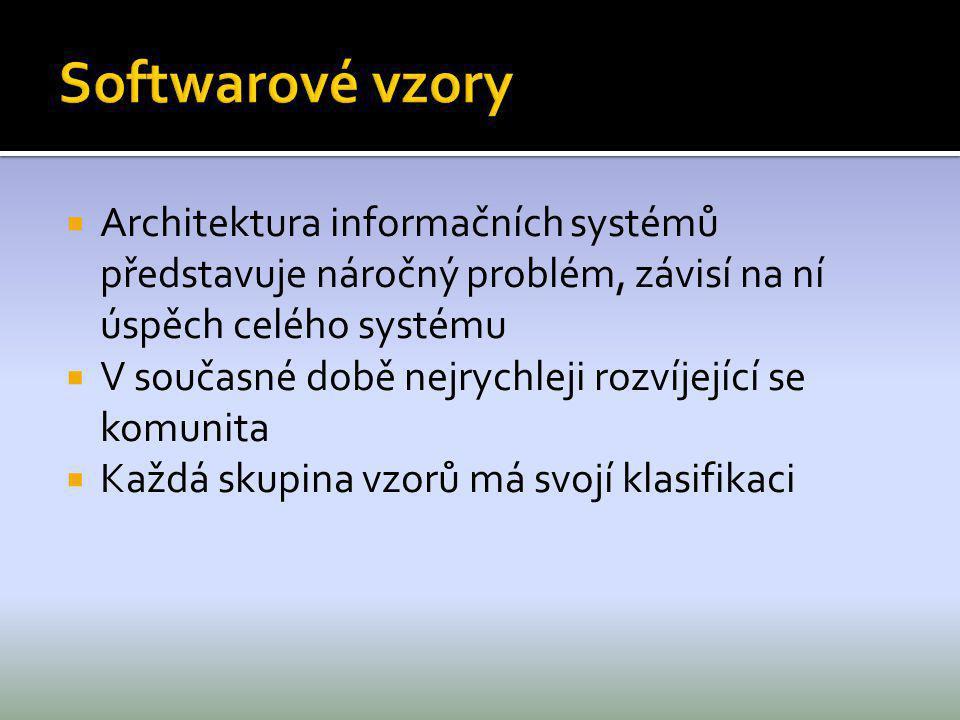  Architektura informačních systémů představuje náročný problém, závisí na ní úspěch celého systému  V současné době nejrychleji rozvíjející se komun