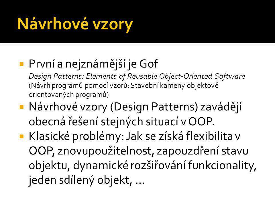  První a nejznámější je Gof Design Patterns: Elements of Reusable Object-Oriented Software (Návrh programů pomocí vzorů: Stavební kameny objektově or