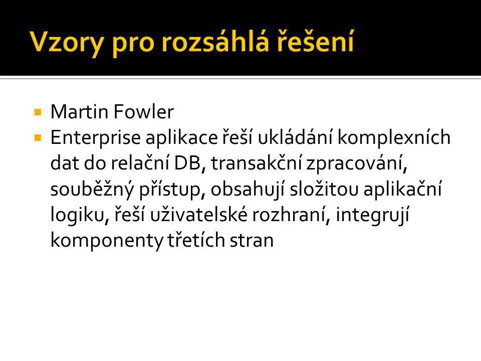  Martin Fowler  Enterprise aplikace řeší ukládání komplexních dat do relační DB, transakční zpracování, souběžný přístup, obsahují složitou aplikačn