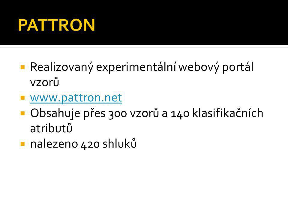  Realizovaný experimentální webový portál vzorů  www.pattron.net www.pattron.net  Obsahuje přes 300 vzorů a 140 klasifikačních atributů  nalezeno
