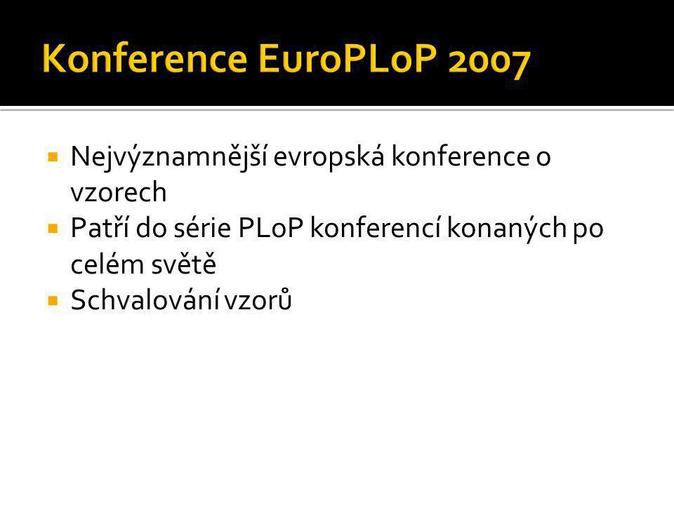  Nejvýznamnější evropská konference o vzorech  Patří do série PLoP konferencí konaných po celém světě  Schvalování vzorů