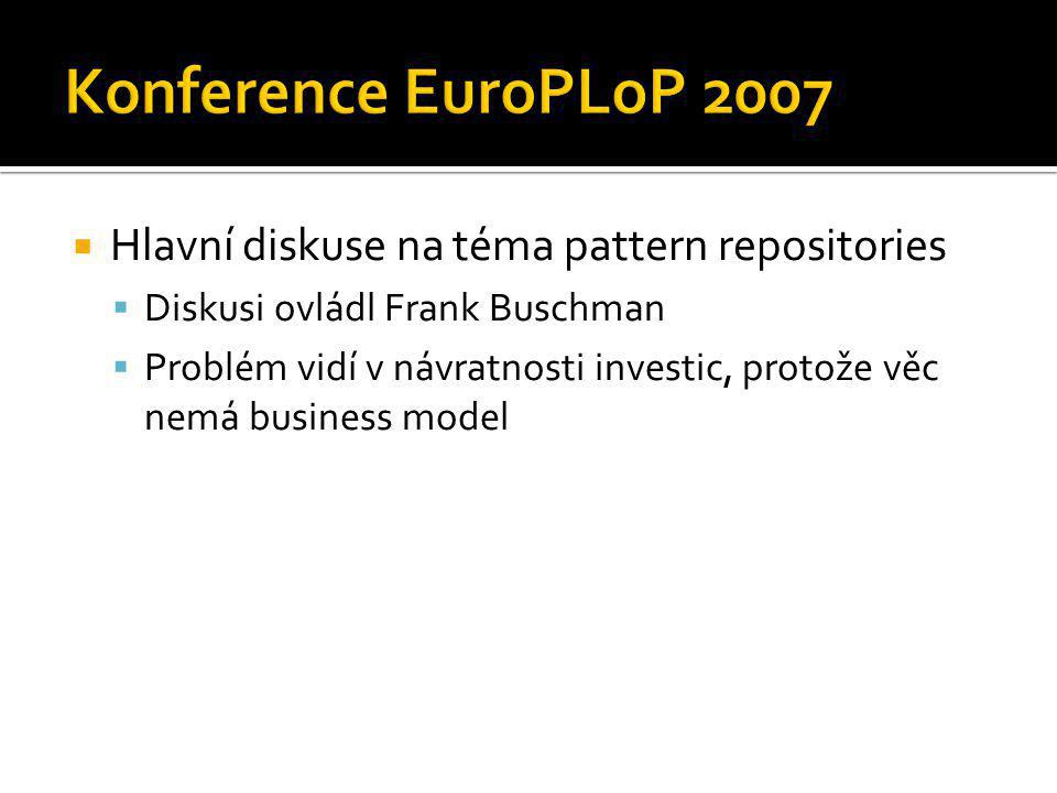  Hlavní diskuse na téma pattern repositories  Diskusi ovládl Frank Buschman  Problém vidí v návratnosti investic, protože věc nemá business model