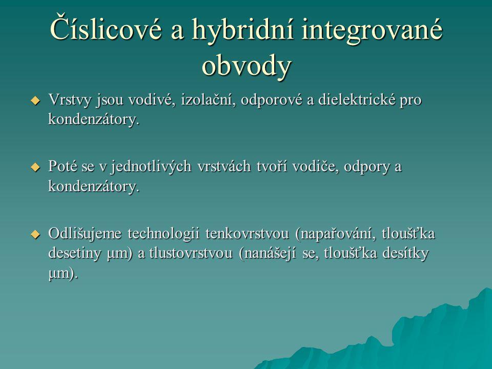 Číslicové a hybridní integrované obvody  Vrstvy jsou vodivé, izolační, odporové a dielektrické pro kondenzátory.