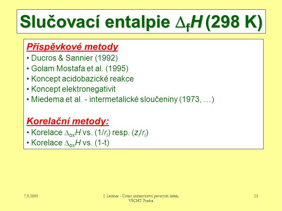 7.5.2005J. Leitner - Ústav inženýrství pevných látek, VŠCHT Praha 23 Slučovací entalpie  f H (298 K) Příspěvkové metody Ducros & Sannier (1992) Golam