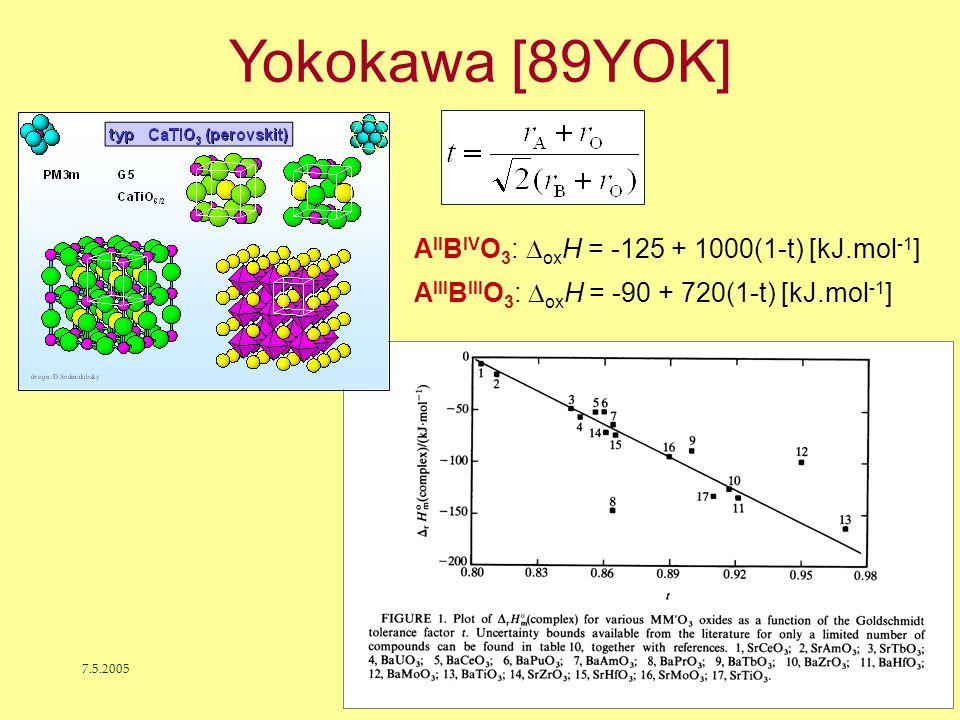 7.5.2005J. Leitner - Ústav inženýrství pevných látek, VŠCHT Praha 32 A II B IV O 3 :  ox H = -125 + 1000(1-t) [kJ.mol -1 ] A III B III O 3 :  ox H =