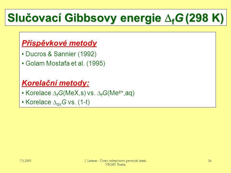 7.5.2005J. Leitner - Ústav inženýrství pevných látek, VŠCHT Praha 34 Slučovací Gibbsovy energie  f G (298 K) Příspěvkové metody Ducros & Sannier (199