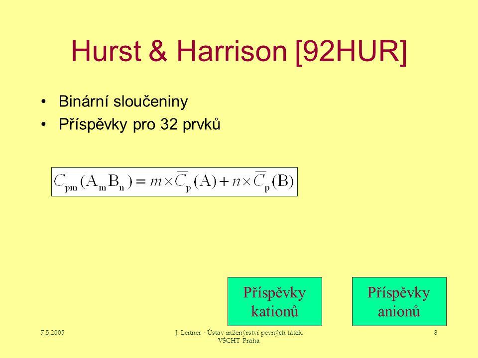 7.5.2005J. Leitner - Ústav inženýrství pevných látek, VŠCHT Praha 8 Hurst & Harrison [92HUR] Binární sloučeniny Příspěvky pro 32 prvků Příspěvky katio