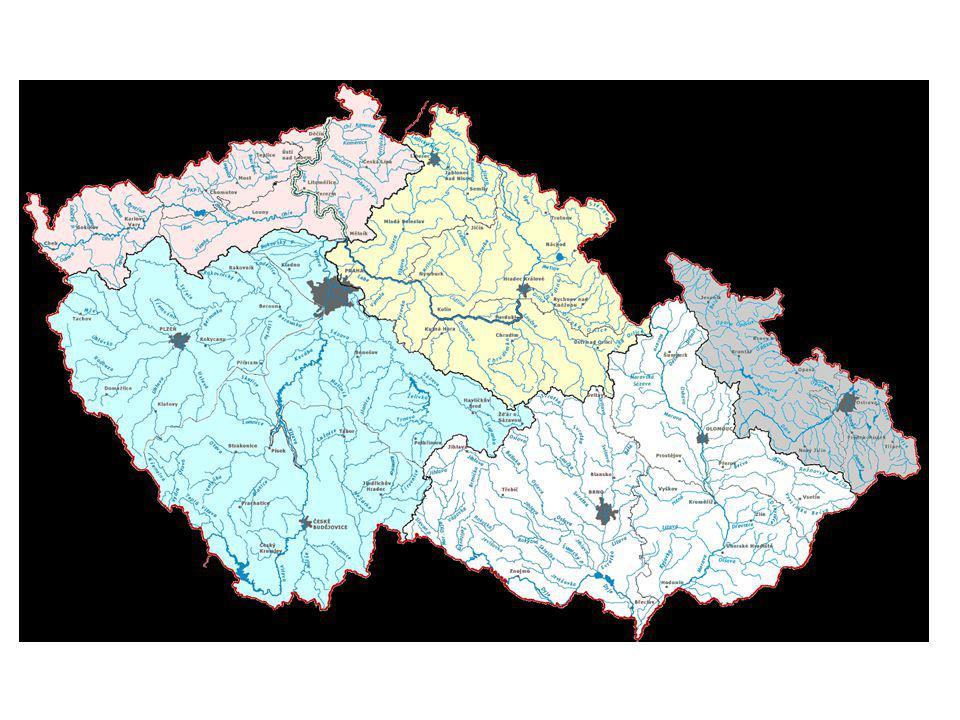 ŘÍČNÍ SÍŤ - POJMY říční síť – tvořena přítoky jedné řeky – různé tvary – po pravé straně směrem po proudu = pravé přítoky – po levé straně směrem po proud = pravé přítoky .