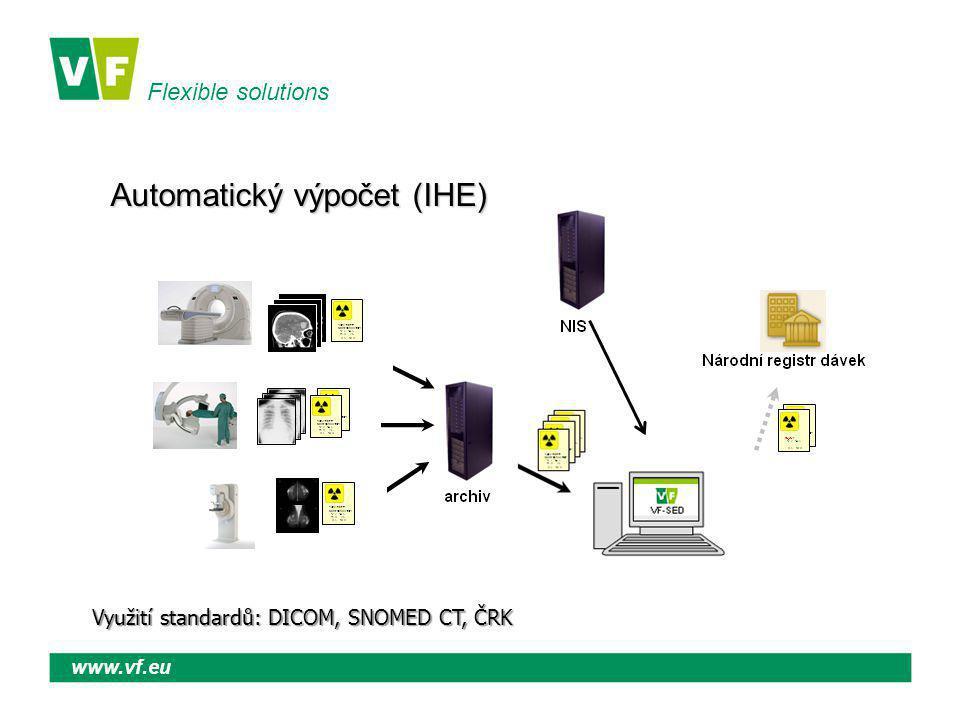Flexible solutions www.vf.eu Automatický výpočet (IHE) Využití standardů: DICOM, SNOMED CT, ČRK