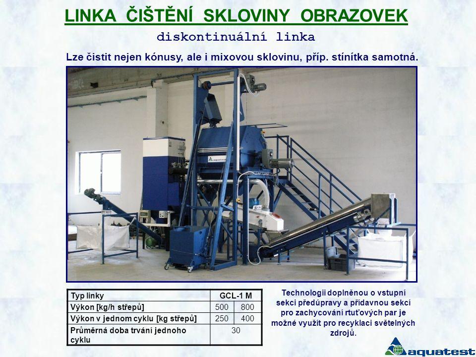 LINKA ČIŠTĚNÍ SKLOVINY OBRAZOVEK diskontinuální linka Typ linkyGCL-1 M Výkon [kg/h střepů]500800 Výkon v jednom cyklu [kg střepů]250400 Průměrná doba trvání jednoho cyklu 30 Lze čistit nejen kónusy, ale i mixovou sklovinu, příp.