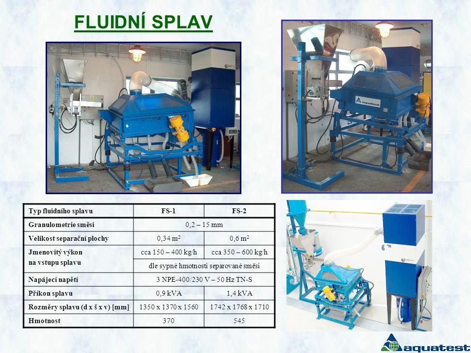 FLUIDNÍ SPLAV Typ fluidního splavuFS-1FS-2 Granulometrie směsi0,2 – 15 mm Velikost separační plochy0,34 m 2 0,6 m 2 Jmenovitý výkon na vstupu splavu cca 150 – 400 kg/hcca 350 – 600 kg/h dle sypné hmotnosti separované směsi Napájecí napětí3 NPE-400/230 V – 50 Hz TN-S Příkon splavu0,9 kVA1,4 kVA Rozměry splavu (d x š x v) [mm]1350 x 1370 x 15601742 x 1768 x 1710 Hmotnost370545