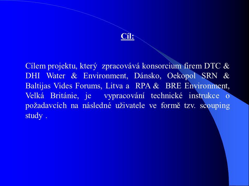 Cíl: Cílem projektu, který zpracovává konsorcium firem DTC  DHI Water  Environment, Dánsko, Oekopol SRN  Baltijas Vides Forums, Litva a RPA  BRE E