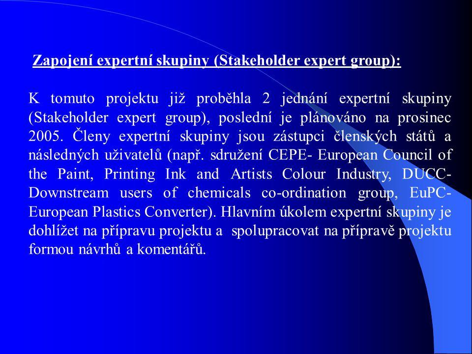 Zapojení expertní skupiny (Stakeholder expert group): K tomuto projektu již proběhla 2 jednání expertní skupiny (Stakeholder expert group), poslední j