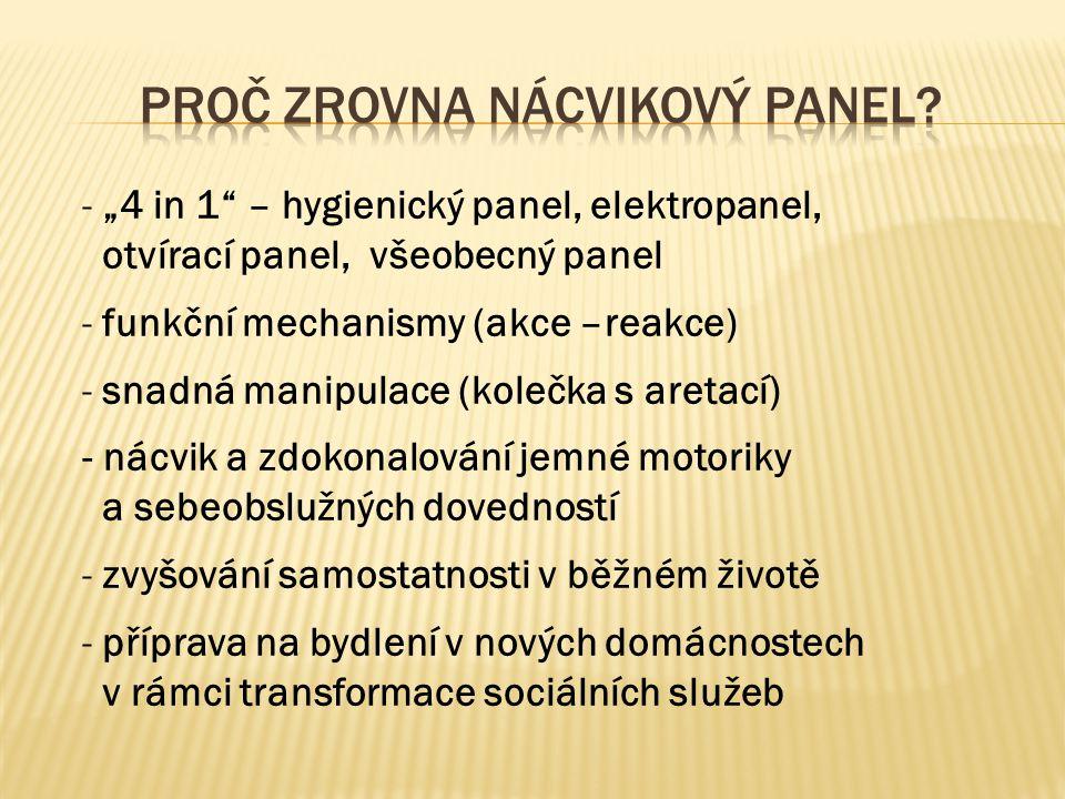 Konstrukce panelu bude umístěna na 4 kolečkách s aretací