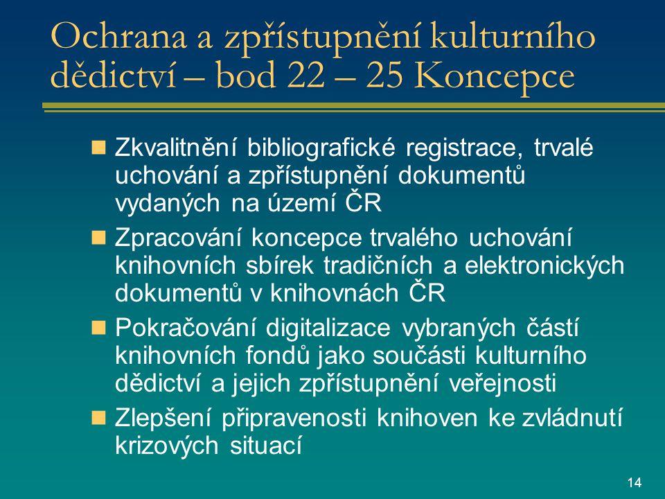 14 Ochrana a zpřístupnění kulturního dědictví – bod 22 – 25 Koncepce Zkvalitnění bibliografické registrace, trvalé uchování a zpřístupnění dokumentů vydaných na území ČR Zpracování koncepce trvalého uchování knihovních sbírek tradičních a elektronických dokumentů v knihovnách ČR Pokračování digitalizace vybraných částí knihovních fondů jako součásti kulturního dědictví a jejich zpřístupnění veřejnosti Zlepšení připravenosti knihoven ke zvládnutí krizových situací