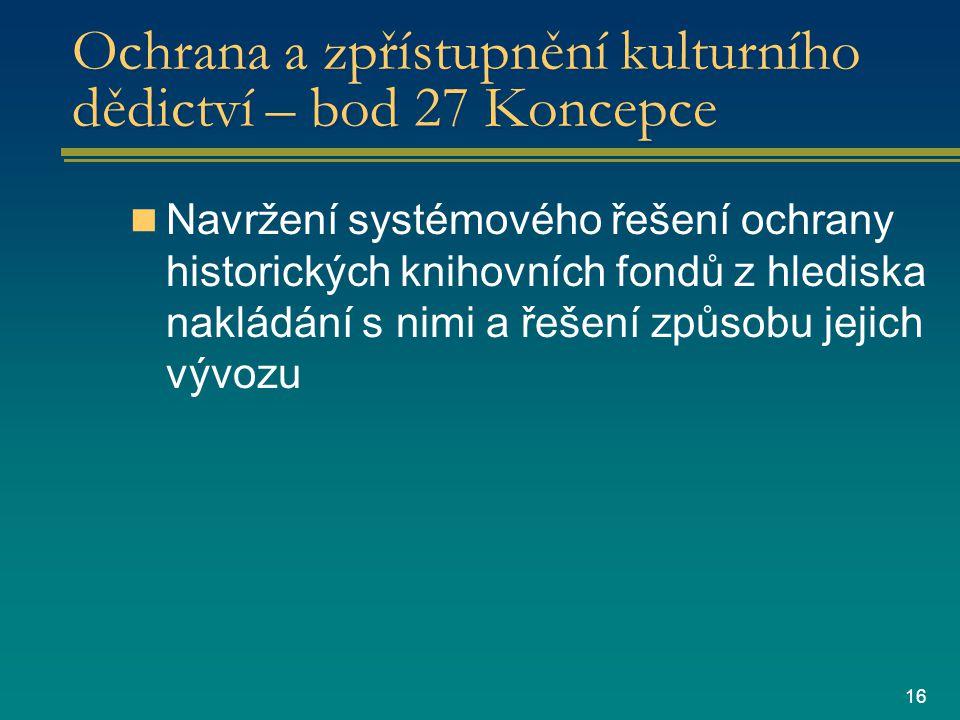 16 Ochrana a zpřístupnění kulturního dědictví – bod 27 Koncepce Navržení systémového řešení ochrany historických knihovních fondů z hlediska nakládání s nimi a řešení způsobu jejich vývozu