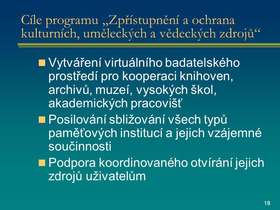 """18 Cíle programu """"Zpřístupnění a ochrana kulturních, uměleckých a vědeckých zdrojů Vytváření virtuálního badatelského prostředí pro kooperaci knihoven, archivů, muzeí, vysokých škol, akademických pracovišť Posilování sbližování všech typů paměťových institucí a jejich vzájemné součinnosti Podpora koordinovaného otvírání jejich zdrojů uživatelům"""