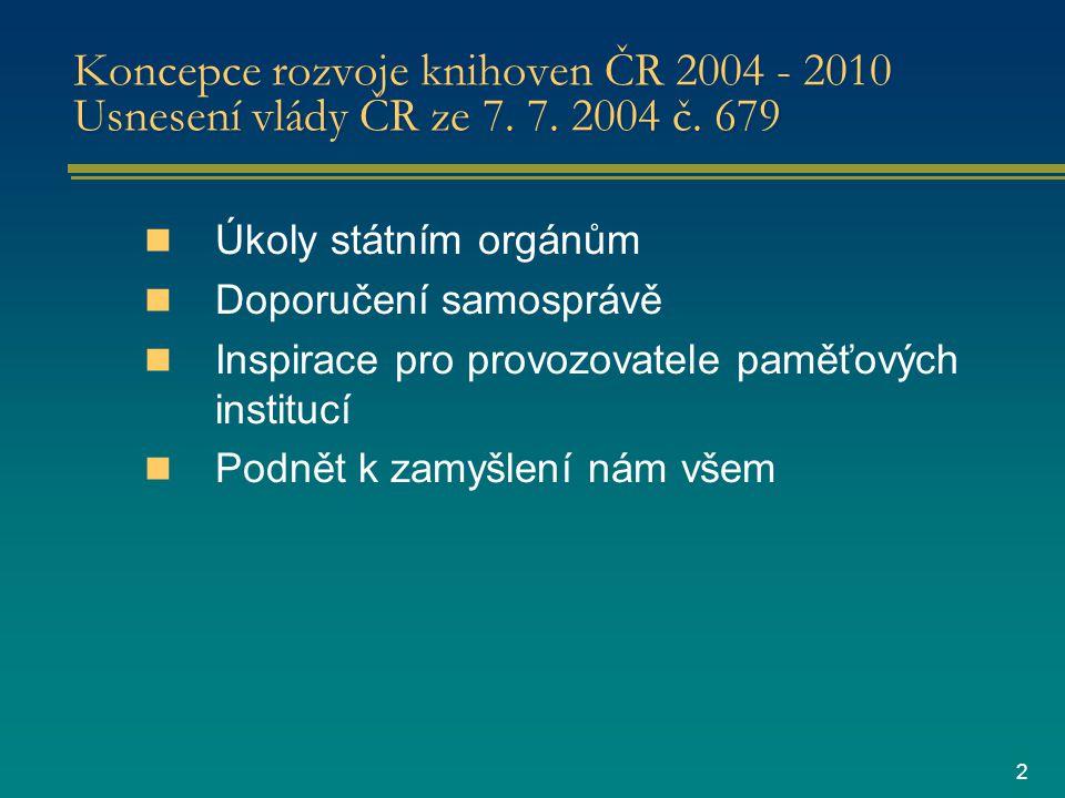 2 Koncepce rozvoje knihoven ČR 2004 - 2010 Usnesení vlády ČR ze 7.