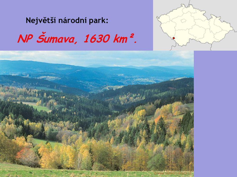 NP Šumava, 1630 km². Největší národní park: