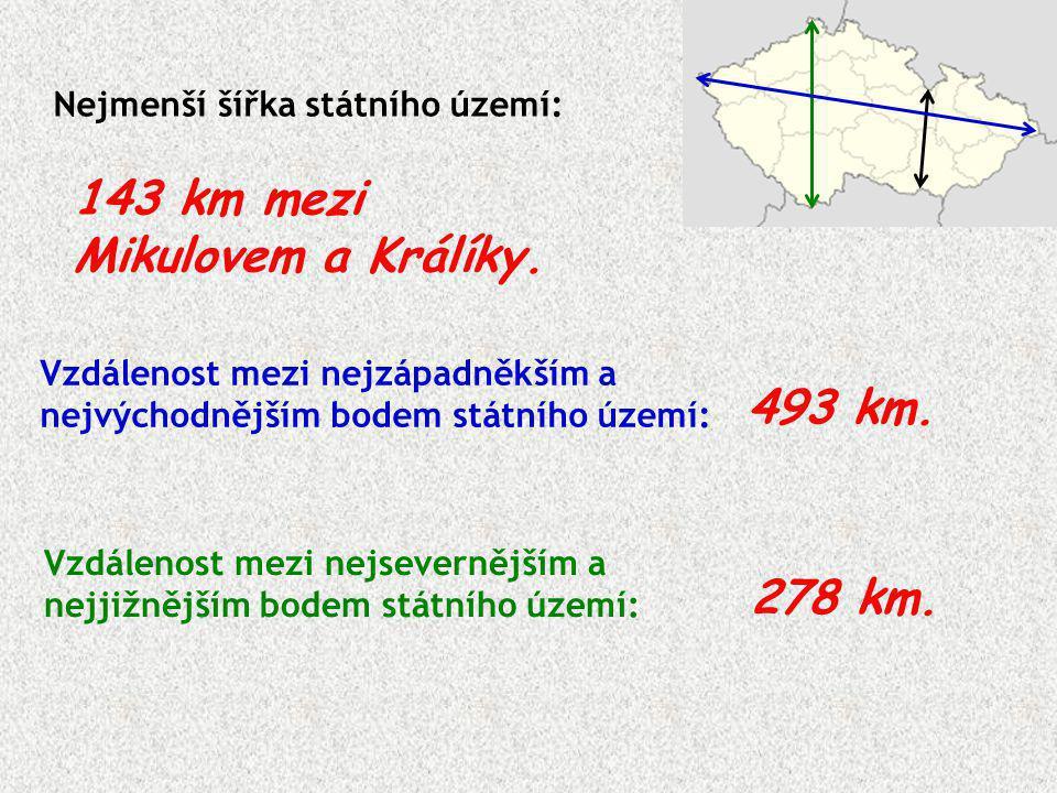 Nejmenší šířka státního území: 143 km mezi Mikulovem a Králíky. Vzdálenost mezi nejzápadněkším a nejvýchodnějším bodem státního území: Vzdálenost mezi