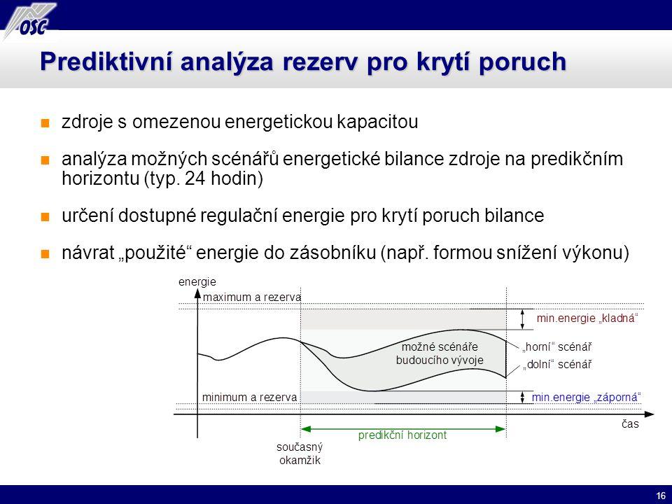 16 Prediktivní analýza rezerv pro krytí poruch zdroje s omezenou energetickou kapacitou analýza možných scénářů energetické bilance zdroje na predikčn