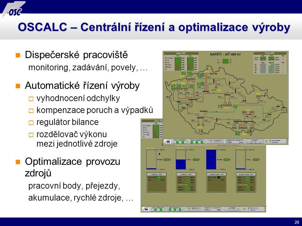 20 OSCALC – Centrální řízení a optimalizace výroby Dispečerské pracoviště monitoring, zadávání, povely, … Automatické řízení výroby  vyhodnocení odch