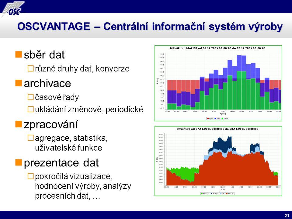 21 OSCVANTAGE – Centrální informační systém výroby sběr dat  různé druhy dat, konverze archivace  časové řady  ukládání změnové, periodické zpracov
