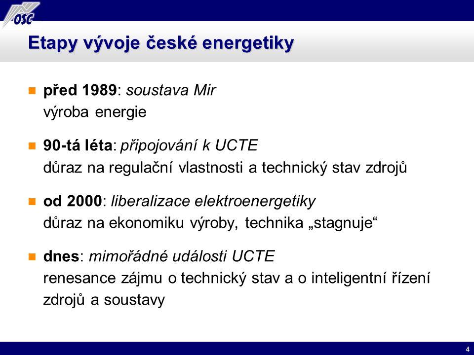4 Etapy vývoje české energetiky před 1989: soustava Mir výroba energie 90-tá léta: připojování k UCTE důraz na regulační vlastnosti a technický stav z