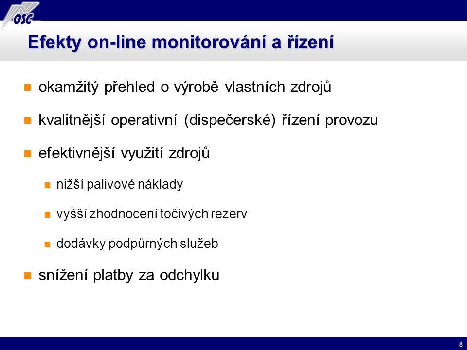 8 Efekty on-line monitorování a řízení okamžitý přehled o výrobě vlastních zdrojů kvalitnější operativní (dispečerské) řízení provozu efektivnější vyu